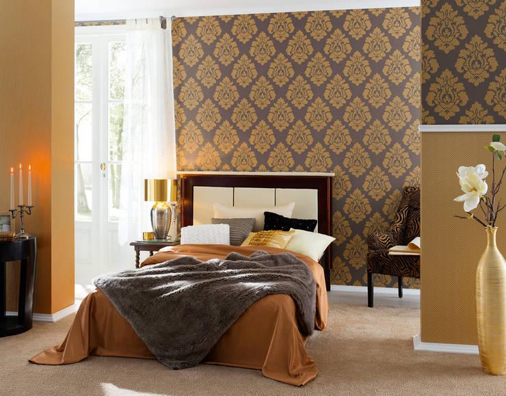 Dormitorio Hermitage 9: Paredes y suelos de estilo  de Disbar Papeles Pintados