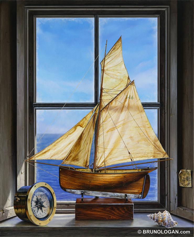 Fenêtre sous le vent - 61x50cm: Couloir, entrée, escaliers de style  par Peinture en trompe-l'oeil