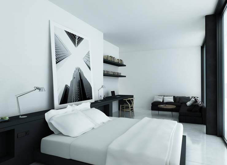 Dormitorio principal: Casas de estilo  de DUE Architecture & Design