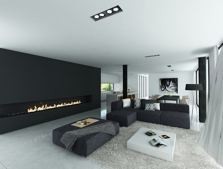 Salón - Comedor: Casas de estilo  de DUE Architecture & Design