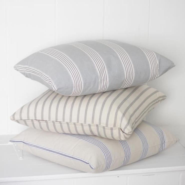 Linen Ticking Cushions:  Living room by Loop the Loop