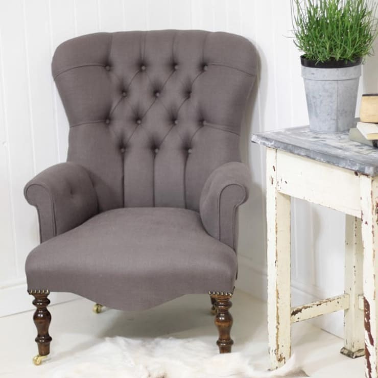 Vintage Style Grey Linen Armchair:  Living room by Loop the Loop