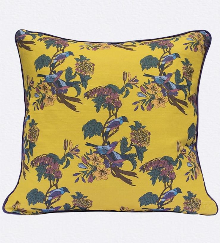 Golden Bunting Bird Cushion by Occipinti:  Living room by Anthea's Home Store