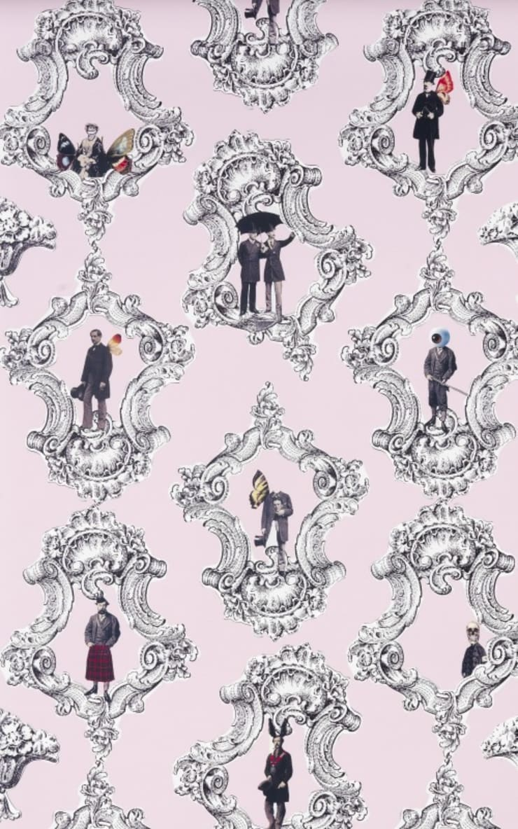 Gentlemens Wallpaper in Pink by Melissa Braconnier:  Walls & flooring by Anthea's Home Store