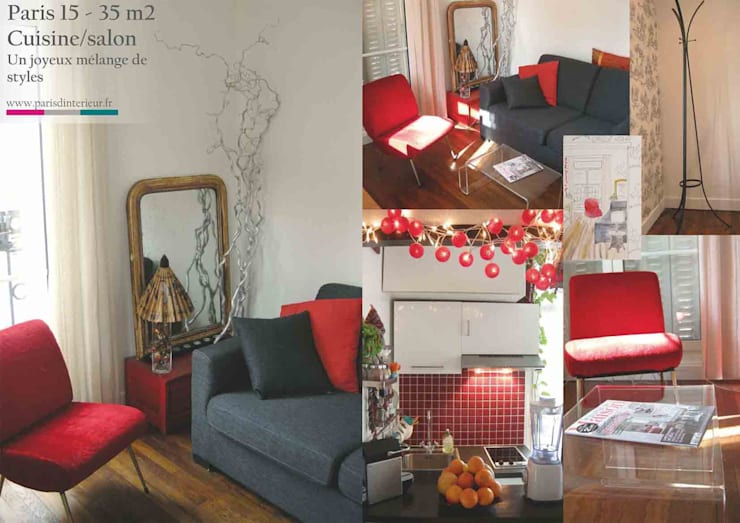 Petit studio parisien: Salon de style  par Parisdinterieur