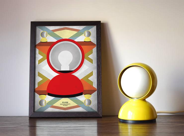 Eclisse illustration: Ingresso, Corridoio & Scale in stile  di Adele Rotella Design Studio