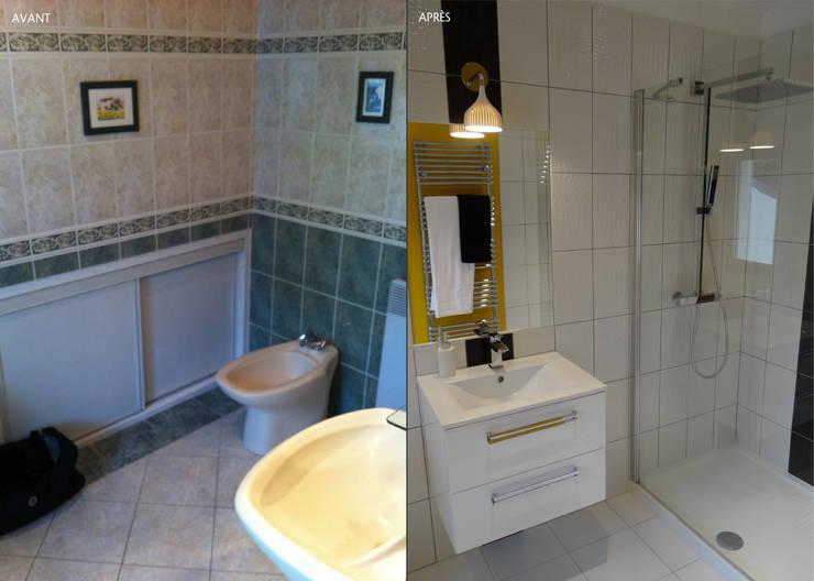 DOUCE RÉVOLUTION: Salle de bains de style  par UN AMOUR DE MAISON
