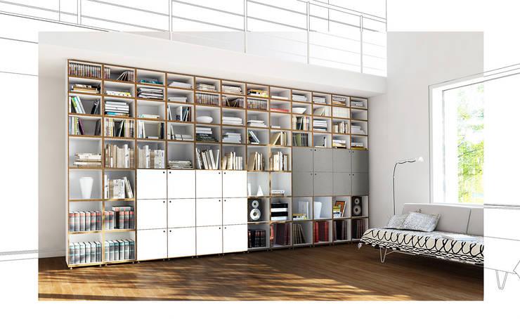 Bücherregal mit Türen:  Wohnzimmer von stocubo - Das modulare Regalsystem,Modern