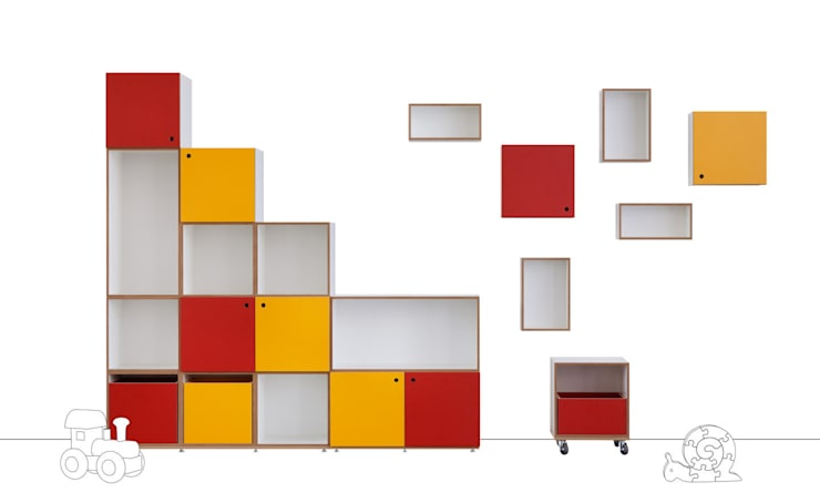 Mitwachsendes Regalsystem: moderne Kinderzimmer von stocubo - Das modulare Regalsystem