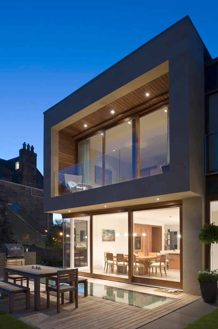 New villa in West Edinburgh - Terrace:  Houses by ZONE Architects