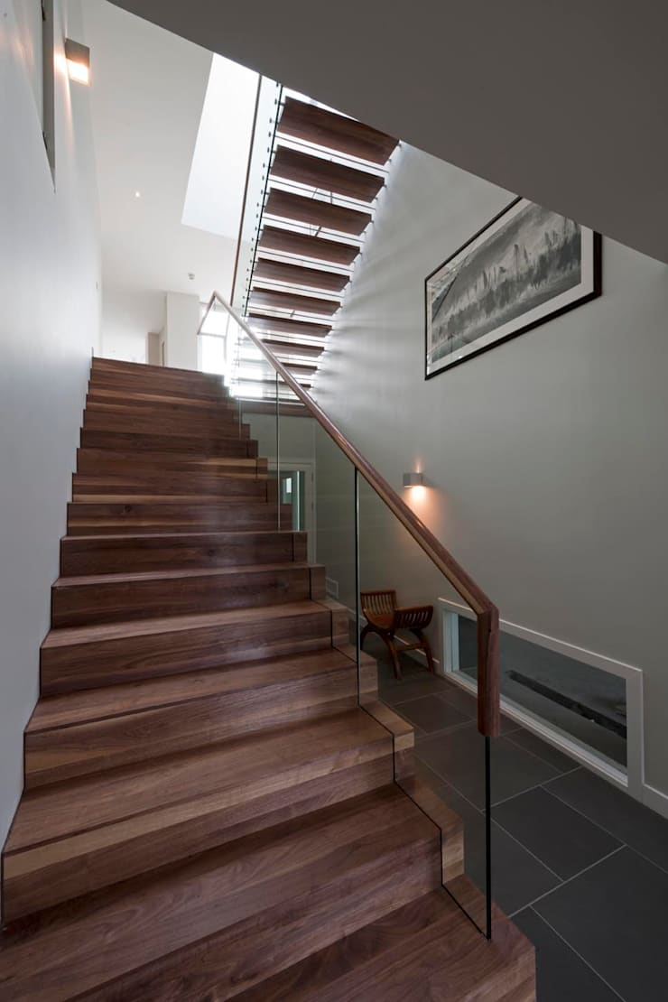New villa in West Edinburgh - Stairs:  Houses by ZONE Architects