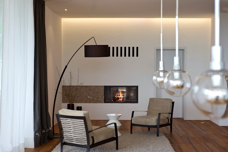 eclectic Living room by Bau-Fritz GmbH & Co. KG