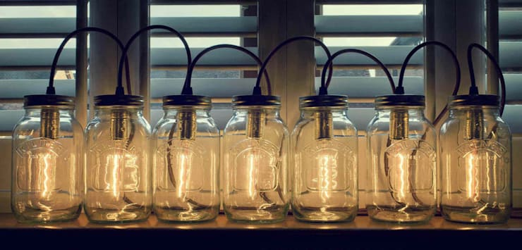 Jam Jar Lights @ LimeLace.co.uk: modern Living room by Lime Lace Eclectic Interiors