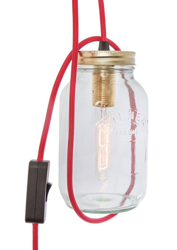 Jam Jar Lamp With Red Cord:  Living room by Lime Lace Eclectic Interiors