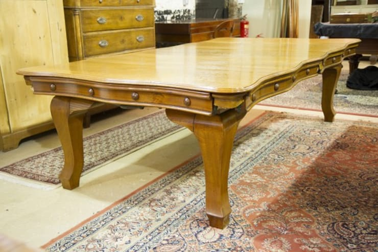 Riley serpentine antique snooker dining table.:  Dining room by Brown's Antiques Billiards and Interiors