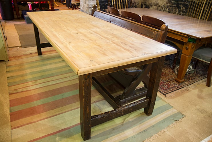 Large antique dining table in pine:  Dining room by Brown's Antiques Billiards and Interiors