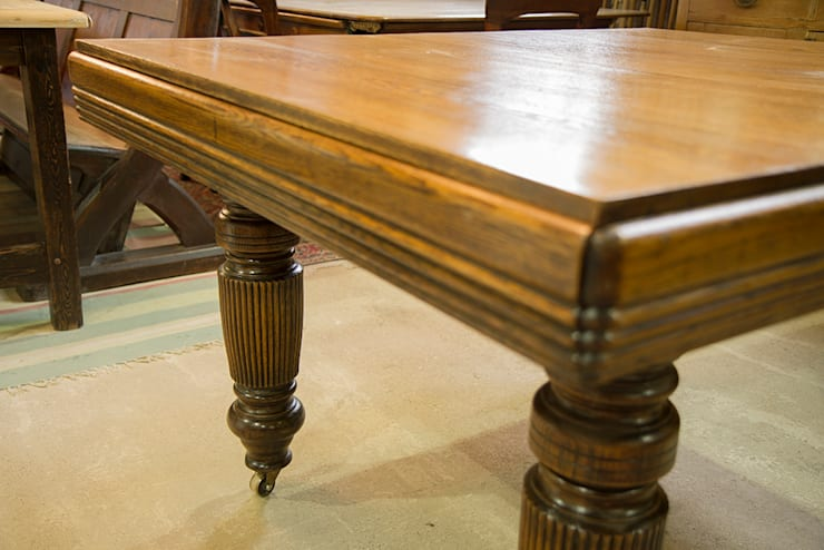 Extending oak dining table, smallest size.:  Dining room by Brown's Antiques Billiards and Interiors