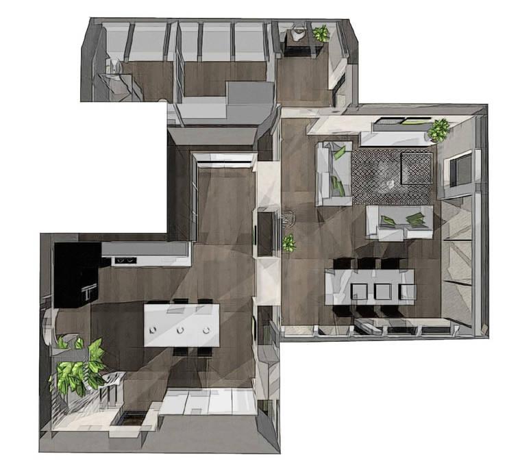 vue génrale extension + ancienne pièce à vivre: Terrasse de style  par agence concept decoration