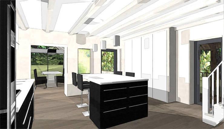 création cuisine contemporaine noir et blanc: Terrasse de style  par agence concept decoration