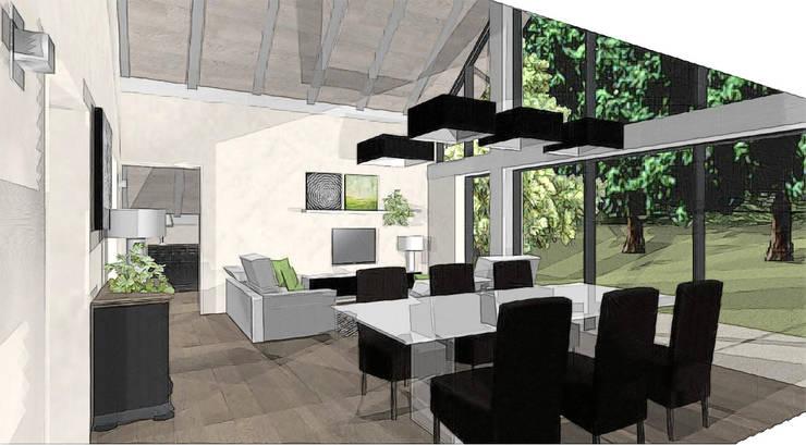 sallé à manger et salon dans extension: Terrasse de style  par agence concept decoration