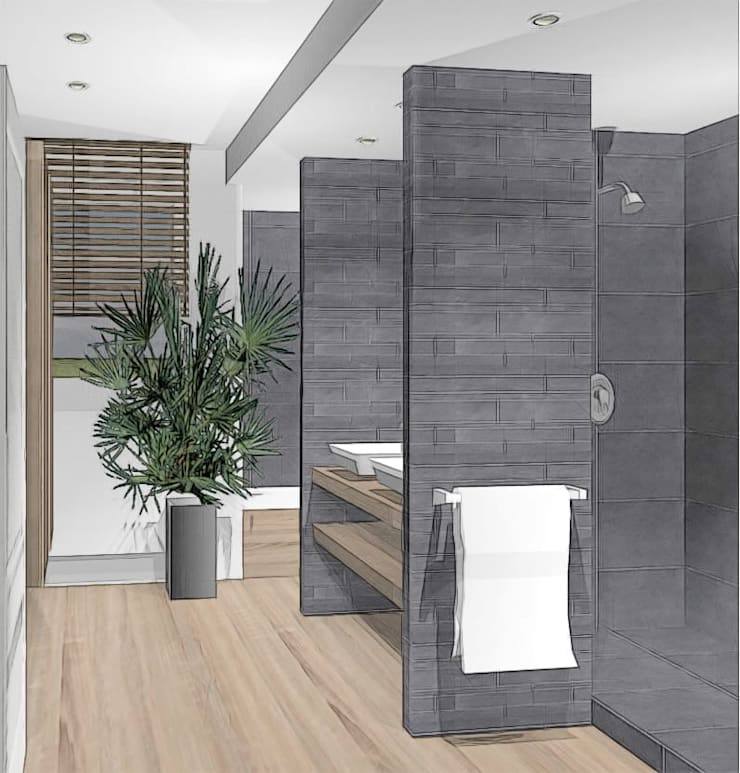 agencer salle de bain: Salle de bains de style  par agence concept decoration