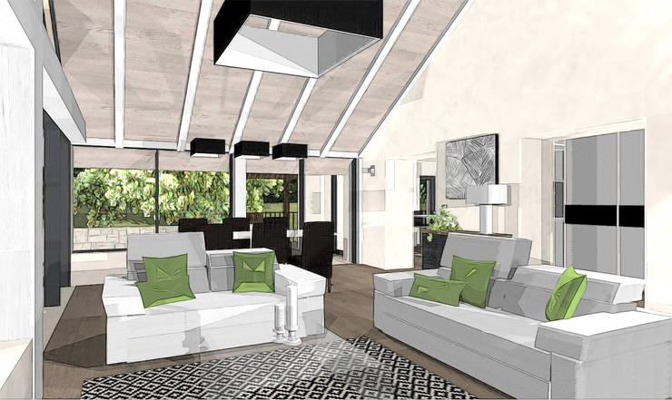salon dans extension: Terrasse de style  par agence concept decoration