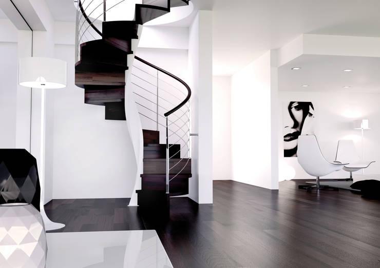 Vestíbulos, pasillos y escaleras de estilo  por Enesca