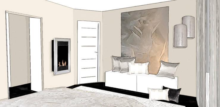 suite parentale élégante: Chambre de style de style Moderne par agence concept decoration