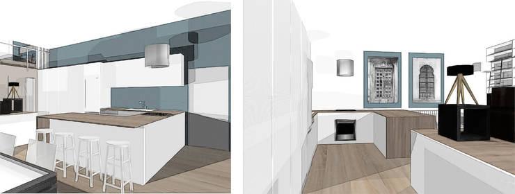 Aménagement d'un LOFT dans une ancienne salle de danse: Maisons de style de style Industriel par agence concept decoration