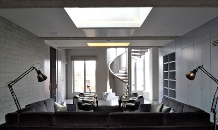Shoreditch Church Penthouse:  Living room by Space Group Architects