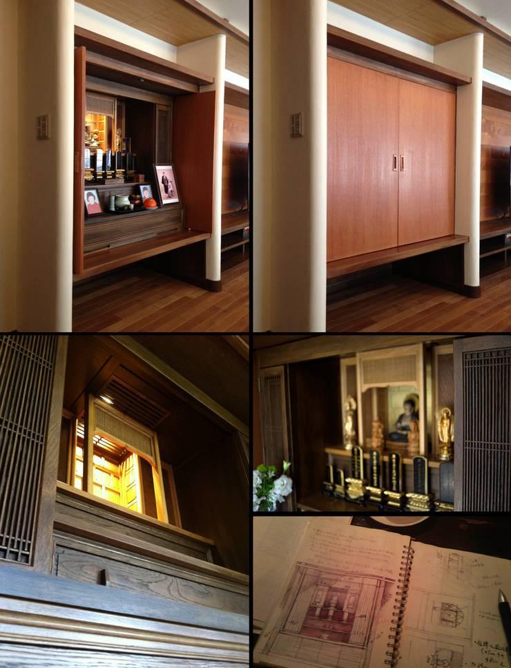 仏壇: H2O設計室 ( H2O Architectural design office )が手掛けたリビングルームです。