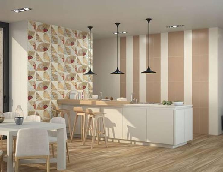 Cocina moderna con revestimiento en formato vertical: Paredes y suelos de estilo  de Porcelanite Dos