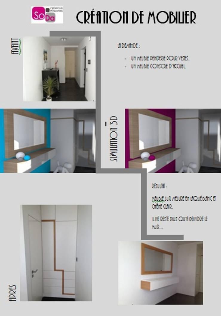Meuble penderie et console avec miroir: Couloir, entrée, escaliers de style  par SoDa créations pétillantes