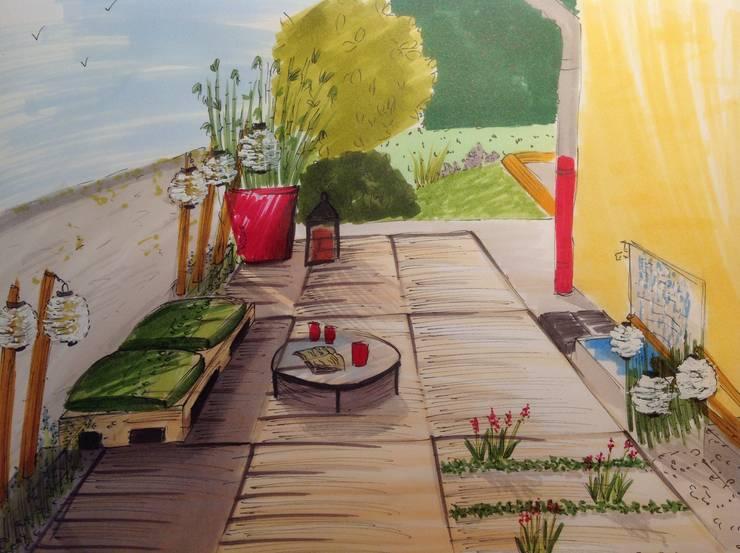 Perspective terrasse: Terrasse de style  par Bulles d'Inspi