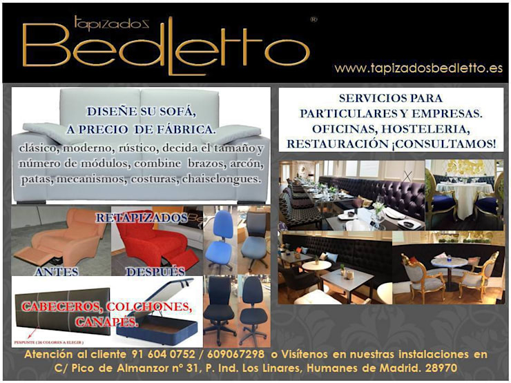 TAPIZADOS BEDELTTO RESTAURACION Y MOBILIARIO DE OFICINA.:  de estilo  de TAPIZADOS BEDLETTO, SL