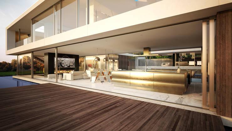Render vivienda de lujo en Palos Verdes.: Casas de estilo  de Berga&Gonzalez - arquitectura y render