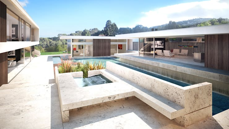 Render vivienda de lujo en Palos Verdes: Casas de estilo  de Berga&Gonzalez - arquitectura y render