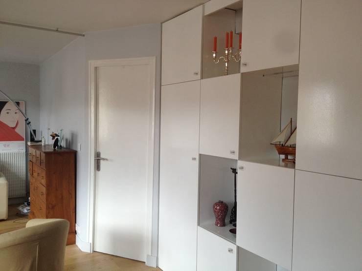 un mur de placards sur mesure par aude sweet home homify. Black Bedroom Furniture Sets. Home Design Ideas