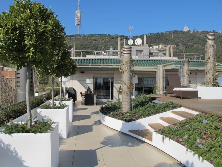 Terraza entre chimeneas: Terrazas de estilo  de CONILLAS - exteriors