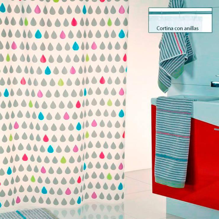 Cortina de ducha Gotas: Baños de estilo  de www.cortinasdeducha.com