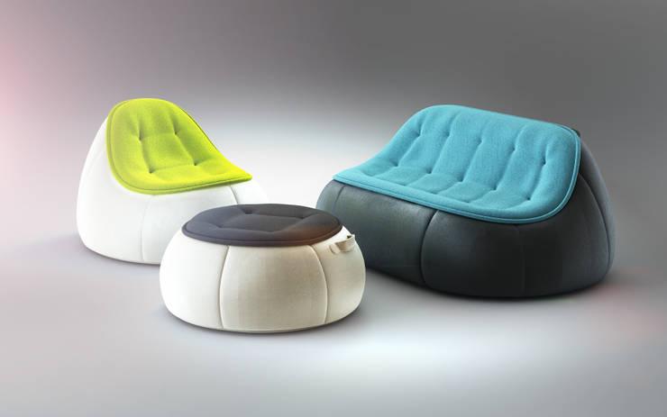 PUFFI set: styl , w kategorii Salon zaprojektowany przez Redo Design Studio Radosław Nowakowski