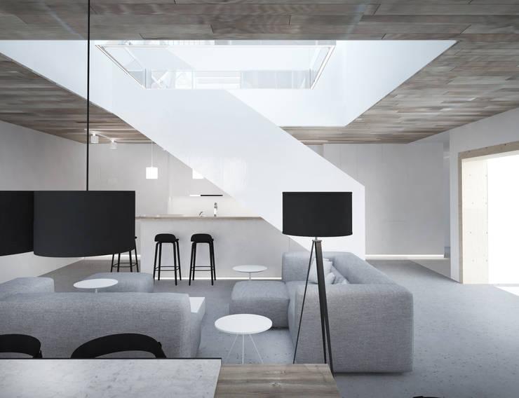 Widok na klatkę schodową: styl , w kategorii Salon zaprojektowany przez grupa KMK sp. z o.o