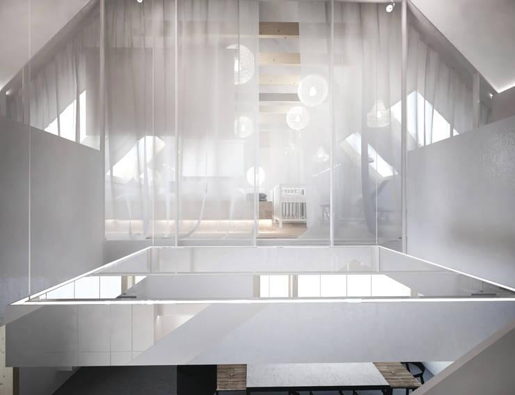 Widok na sypialnię. : styl , w kategorii Korytarz, przedpokój zaprojektowany przez grupa KMK sp. z o.o