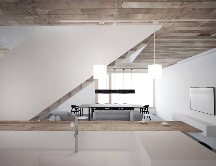 Widok na salon : styl , w kategorii Kuchnia zaprojektowany przez grupa KMK sp. z o.o