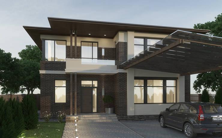 Главный фасад дома с навесом для машин : Дома в . Автор – studio forma,