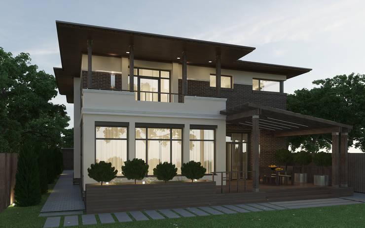 Задний фасад дома с террасой: Дома в . Автор – studio forma,