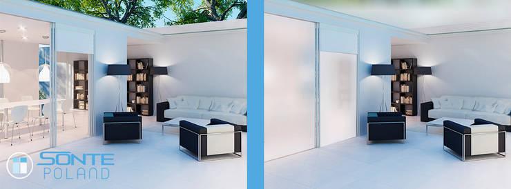 Inteligentna folia okienna SONTE zastosowana do przesłanięcia dachu szklanego: styl , w kategorii  zaprojektowany przez Inteligentna Folia na przeszklenia SONTE - SONTE Poland Sp. z o.o.
