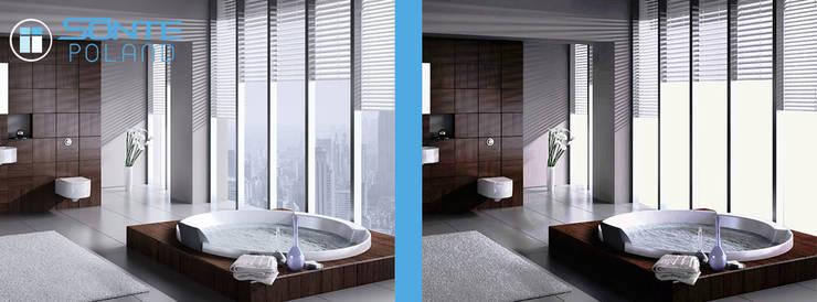 Inteligentna folia okienna SONTE zastosowana w łazience: styl , w kategorii  zaprojektowany przez Inteligentna Folia na przeszklenia SONTE - SONTE Poland Sp. z o.o.