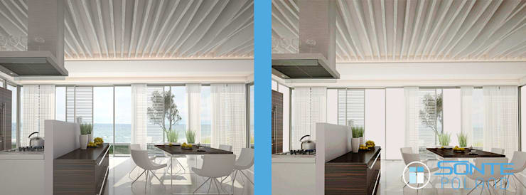 Inteligentna folia okienna SONTE zastosowana w salonie: styl , w kategorii  zaprojektowany przez Inteligentna Folia na przeszklenia SONTE - SONTE Poland Sp. z o.o.