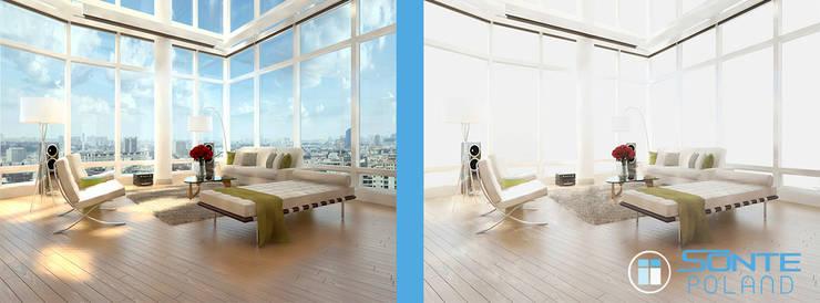 Inteligentne folia okienna SONTE zastosowana w salonie - prywatność na żadanie: styl , w kategorii  zaprojektowany przez Inteligentna Folia na przeszklenia SONTE - SONTE Poland Sp. z o.o.
